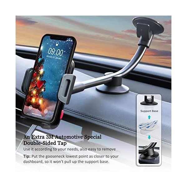 Universal Windshield Dashboard Flexible Long Arm Car Phone Mount Holder with One Touch Compatible iPhone 7 7 Plus SE 6s 6 Plus 6 5s Samsung Galaxy S6 S5 and All Smartphones 3.5-6 inch 4326593057 HANA Car Mount