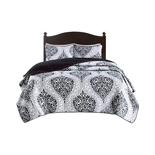 Comfort Spaces Enya 3 Piece Quilt Coverlet Bedspread Ultra Soft Floral Printed Pattern Bedding Set Full//Queen Black-Red