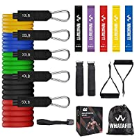 Whatafit Resistance Bands Set (16pcs), Exercise Bands with Door Anchor, Handles,Waterproof Carry Bag, Legs Ankle Straps for Resistance Training, Physical Therapy, Home Workouts (Set3)