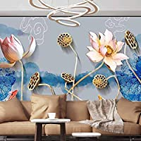 Albert Lindsay Backdrop Wall Paper Decorations Beautiful Flowers Ink Classic Chinese Painting Paperhanging Wallpaper,55x39 inches/140X100 cm,Wall Stickers for Office Bedroom School Family Wall Decals