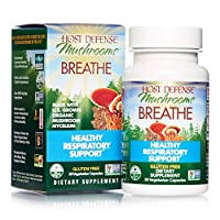 Host Defense, Breathe, 30 Capsules, Respiratory Support, Mushroom Supplement with Cordyceps, Reishi and Chaga, Vegan, Organic, 15 Servings