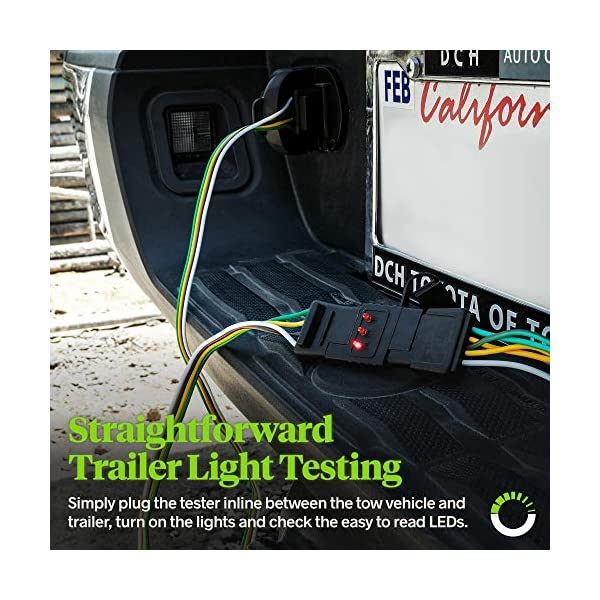 ONLINE LED STORE 4-Way Flat Trailer Wiring Tester Continuity Test 4-Pin Trailer Light Wire Circuit Tester Nickel-Plated Copper Terminals Male /& Female