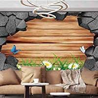 Wall Paper Decorations 3D trap Planks American Style Western Rustic Wood white daisies grass butterflies Removable Wall Mural ,154