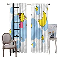 painting-home Blackout Curtains Star, Thermal Insulated Noise Reducing Window Drapes Girl Ladder with Star for Nursery Room, Set of 2 Panels (W60 x L108 Inch)