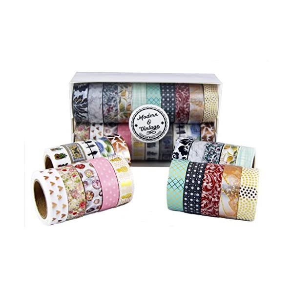 Scrapbook Tape Craft Supplies 3mm Wide for DIY Gold Foil Thick 12 Gift Wrapping Scrapbooking YUBBAEX Washi Tape Decorative Craft