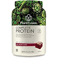 PlantFusion Complete Plant Based Pea Protein Powder, Non-GMO, Vegan, Dairy Free, Gluten Free, Soy Free, Allergy Free w/Digestive Enzymes, Dietary Supplement, Red Velvet, (30 Servings) 2 Pound