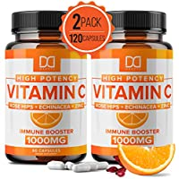 Vitamin C 1000mg w/ Rose Hips, Zinc, Echinacea Supplement for Immune Support for Adults Kids - VIT C Capsules Immune System Booster, Immunity Defense, High Absorption - Non GMO, Gluten Free (2 Pack)