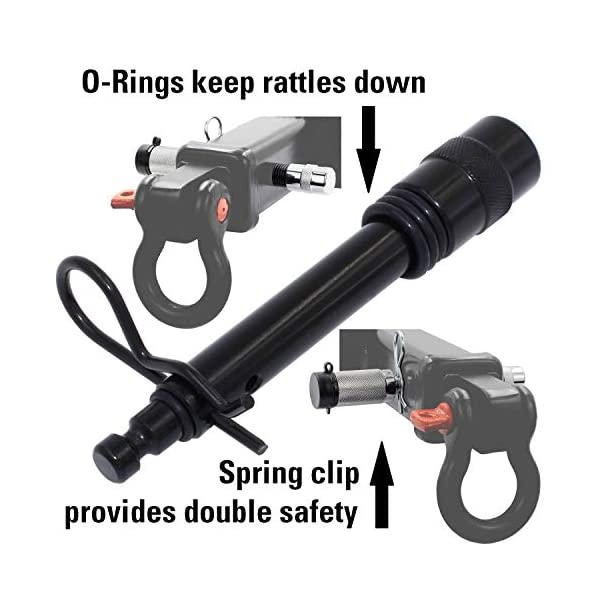 V Hitches with 2 and 2.5 Receivers 10 Anti Rattle O-Rings 1 Safety Clip Auto Rover Trailer Hitch Lock Pin Set-/5//8 and 1//2 Extra Long Black Pins with One Locking System fits Class III