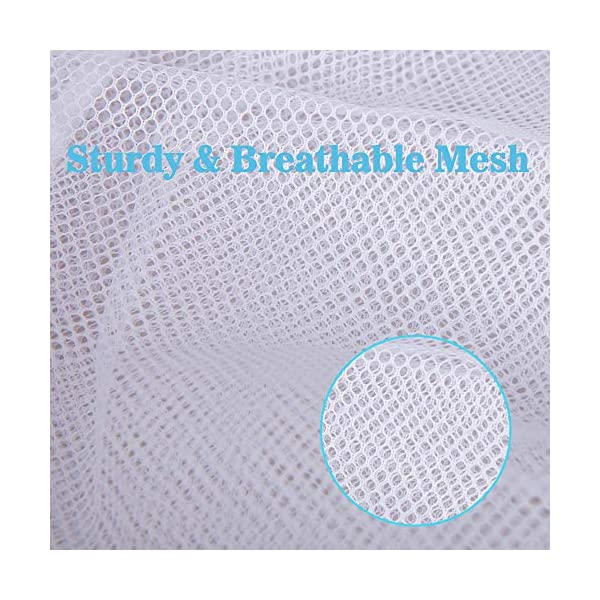 Set of 2 Durable Fine Mesh Laundry Bag with Lockable Drawstring for Big Clothes White Delicates Vivifying Large Washing Net Bags