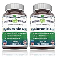 Amazing Formulas Hyaluronic Acid 100 mg Capsules (Non-GMO,Gluten Free) - Support Healthy Connective Tissue and Joints - Promote Youthful Healthy Skin (120 Count (Pack of 2))