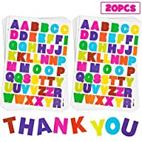 Baker Ross Glitter Foam Letter Stickers Educational ABCs Scrapbook Stickers in Fun Self-Adhesive Shapes for Kids Pack of 850