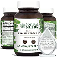 Natural Nutra High Allicin Garlic Supplement, Garlic Pills for High Blood Pressure, Cholesterol and Immune Support, Enteric Coated with Natural Vanilla, Odorless Extract, 500mg, 60 Vegan Tablets
