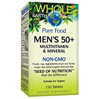 Whole Earth & Sea from Natural Factors, Men's 50+ Multivitamin & Mineral, Whole Food Supplement, Vegan, 120 Tablets (60 Servings)