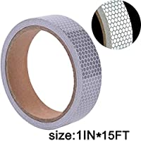 BRIGHT PLUS LIGHT & SAFETY High-Intensity Reflective Tape for Vehicles Boats Clothes Helmets Mailboxes,1 Inch by 5 Yards, Silver & White (2.5cm4.5m,White)