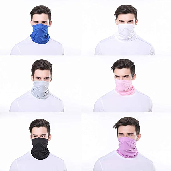 LUOLIIL VOE 5 Pieces Sun UV Protection Face Mask Neck Gaiter Windproof Scarf Sunscreen Breathable Bandana for Sport/&Outdoor