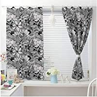 Garden Art thermal curtains Botanical Pattern with Hand Drawn Flowers Frangipani Mimosa and Lotus Curtain Home decor Living Room Large Size Window Curtain Black White Pale Grey W104 X L84 Inch