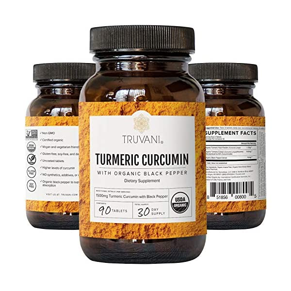 TRUVANI Organic Turmeric Curcumin | Turmeric Root Powder - with Black Pepper for Improved Absorption | Anti-Inflammatory, Joint Support & Stress Relief Supplement | 30 Servings (Packaging May Vary)