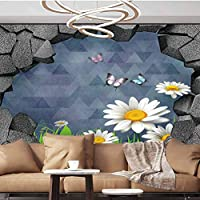 Wall Paper Decorations 3D trap Planks American Style Western Rustic Wood white daisies grass butterflies Removable Large Sticker,154