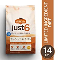 Rachael Ray Nutrish Just 6 Natural Premium Dry Dog Food, Limited Ingredient Diet Lamb Meal & Brown Rice Recipe, 14 Pounds