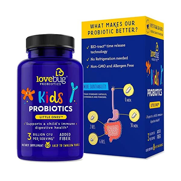 Lovebug Little Ones Probiotics for Kids, Immune Support 60 Easy-to-Swallow Tiny Pearls, Children's Patented Time Release Probiotics Supplement (60)