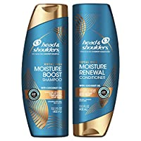 Head and Shoulders Shampoo and Conditioner, Moisture Renewal, Anti Dandruff Treatment and Scalp Care, Royal Oils Collection with Coconut Oil, for Natural and Curly Hair, 27 fl oz, Kit