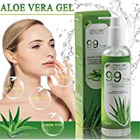 Velcare Aloe Vera Gel with 100 Percent Pure Natural Organic Aloe for Face Hair Body - Soothing and Nourishing Moisturizer - Ideal for Sunburn Relief Dry Stressed Skin Acne Razor Bumps Eczema - 11 oz