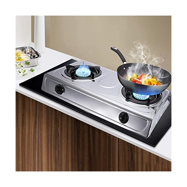 Gas Rangetop Cooktop Stainless Steel Double Burner Gas Stove Gas Hob with 4 Non-slip Rubber Legs Home Kitchen Desktop Cooktop Cooker 27.6x14.4x4.1Inch