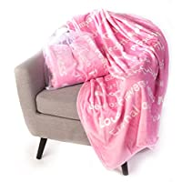 BlankieGram Faith Throw Blanket with Inspirational Thoughts and Prayers - The Perfect Caring Gift for Hope Health and Love (Pink)
