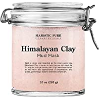 Himalayan Clay Mud Mask for Face and Body by Majestic Pure - Exfoliating and Facial Acne Fighting Mask - Reduces Appearance of Pores, 10 oz