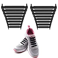 LattoGe No Tie Shoelaces for Kids and Adults - Slip On Tieless Lace Waterproof Silicone Flat Elastic Shoe Laces Strings for Athletic Running Sneakers Boots Board and Casual Shoes