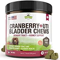 Cranberry Supplement for Dogs -120 Grain Free Dog Treats - Cranberry Chews for Urinary Tract Infection Treatment UTI Relief Bladder Control Support UT Incontinence - D-Mannose, Organic Echinacea, USA