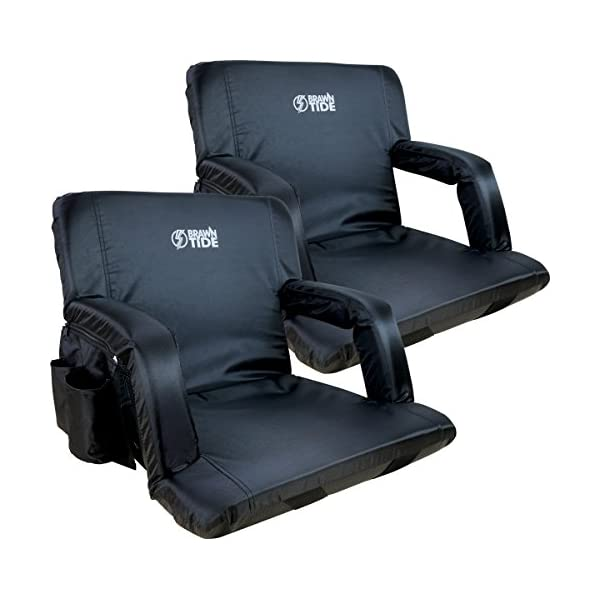 Brawntide Stadium Seat with Back Support Water Resistant Reclining Back Extra Thick Padding 4 Pockets Ideal Stadium Chair for Sport Events Blue, 1 Pack Shoulder Straps Bleacher Attachment