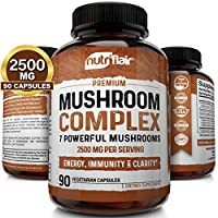 NutriFlair Mushroom Supplement 2500mg - 90 Capsules - 7 Organic Mushrooms - Reishi, Lions Mane, Cordyceps, Chaga, Turkey Tail, Maitake, Shiitake Nootropic Complex - Brain, Immune System, Energy, Focus