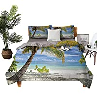 DRAGON VINES Four-Piece Bedding Flat Sheet TwinSizeBed Tropical Sandy Beach with Palm Trees Maldives Coastline Peaceful Theme Coconut and Blue high Density Weaving Process W104 xL90