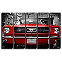 Big Set Red Ford Mustang 1964 Wall Art Decor Picture Painting Poster Print on 5 Canvas Panels Pieces - Muscle Pony Car Theme Wall Decoration Set - Wall Picture for Living Room Showroom 35 by 55 in