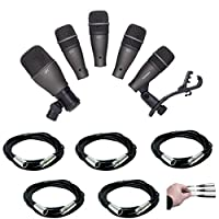 Tripod Base Mic Boom Stand Samson DK707 7-Piece Drum Microphone Kit Ultimate Low-Level Tripod Mic Stand 7 XLR Mic Cables 20 ft.+ Strapeez Black Ultimate Accessory Bundle