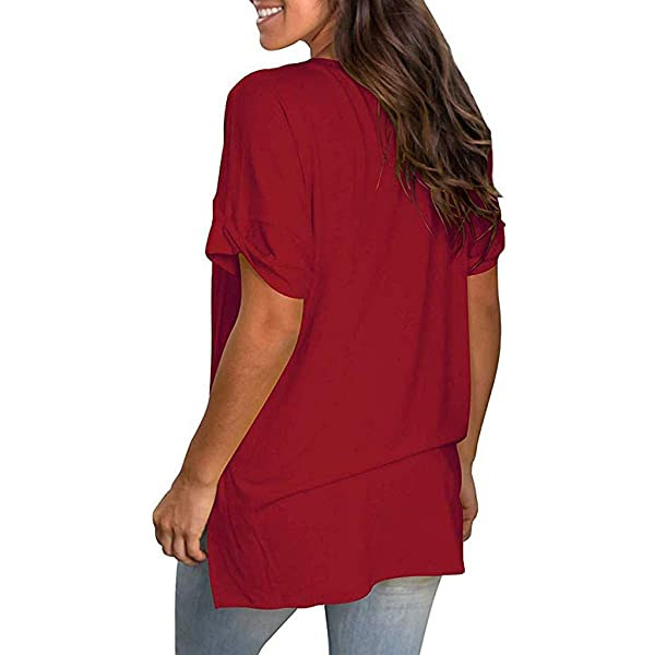 Zlolia Womens Solid Color Long T-Shirts V-Neck Linen Short-Sleeved Pullover Casual Loose Fashion Top Blouses