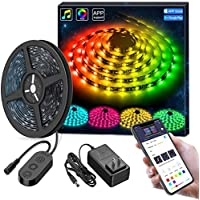 MINGER DreamColor LED Strip Lights, Smart Music Sync Light Strip Phone App Controlled Waterproof for Party, Room, Bedroom, TV, Gaming with Brighter 5050 LEDs and Strong Adhesive Tape (16.4Ft)