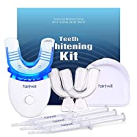 Fairywill Teeth Whitening Kit with Led Light for Sensitive Teeth, 35% Carbamide Peroxide 3×3ml Gel Syringes with 5X Blue Light Accelerated, 2 Form Fitting Teeth Trays And A Travel Case Included