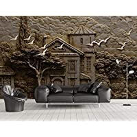3D Wallpaper Tv Wall Decor Stickerr Relief Forest Hut Big Tree Flying Birds Modern Wall Paper Wall Stickers for Bedroom Decor