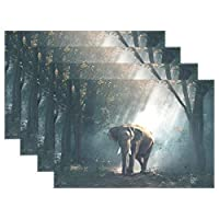 YUEND Resistant Placemats Heat Durable Bulldog Kitchen Home Non Slip for Dinning Table Wildlife Animal Elephant Forest Trees Woods 1PC Table Mats