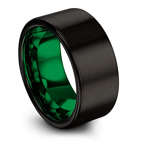 Chroma Color Collection Tungsten Wedding Band Ring 12mm for Men Women Blue Black Flat Pipe Cut Brushed Polished Size 7