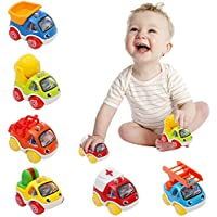 OKPOW Toy Cars for Kids, Pull Back Cars Toys for Toddlers 1 2 3 4 Year Old Baby Construction Team Vehicles Set Birthday for Kids
