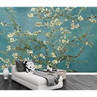 3D Wallpaper Tv Wall Decor Stickerr White Flower Tree Oil Painting Vintage Modern Wall Paper Wall Stickers for Bedroom Decor
