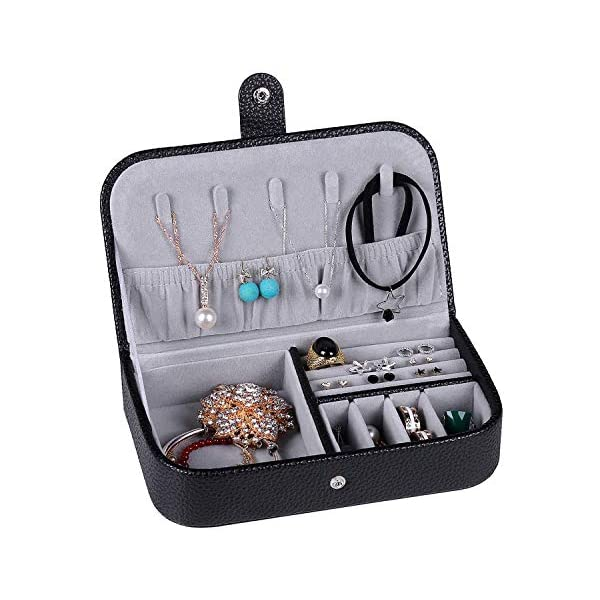 Travel Jewelry Box For Women Portable Organizer Display Storage Case With Snap Closure For Earring Bracelet Ring Necklace Black