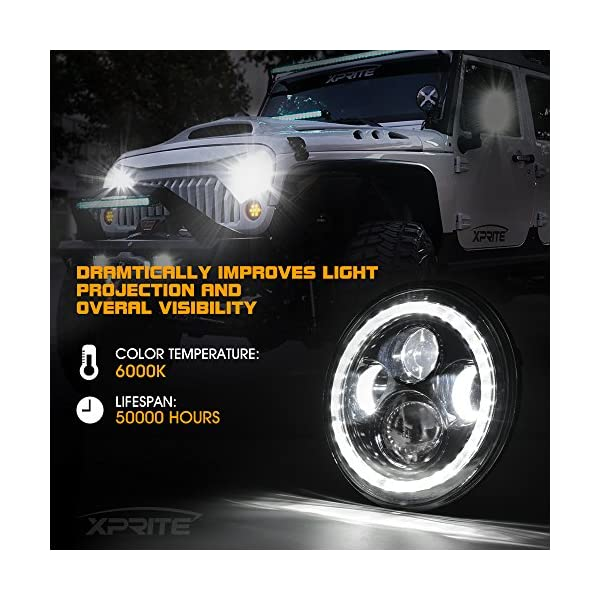 Hi//Lo Beam,and Amber Turn Signal Halo Lights w//DRL DOT Approved Xprite 7 Inch 85W LED Headlights for Jeep Wrangler JK TJ LJ 1997-2018