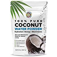 Earth Circle Organics | Pure Young Dried Coconut Water Powder | Hydration | Energy and Electrolyte Supplement | No Additives | Unsweetened | Natural Keto Water Enhancer | Vegan | Gluten Free