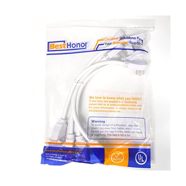 BH 1-Foot Low Profile Angle Extension Power Cord 16 AWG 5 Packs NEMA 5-15P to