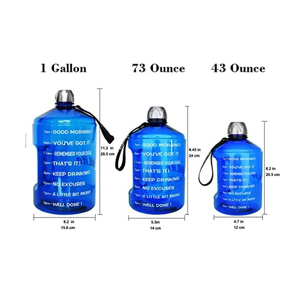 Leakproof BPA Free Sports Water Bottles for Motivational Fitness Workout Camping Bicycle Gym Cupitool 1 Gallon 128oz//73oz//43oz Water Bottle with Time Marker