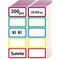 BoHong 300pcs Name Tag Stickers Plain Colorful Border 5 Colors Adhesive Nametags Labels for Office, Meeting, School, Teachers, Parties & Kids Clothes Stickers - 3.5x2.25 Inches, 5 Colors